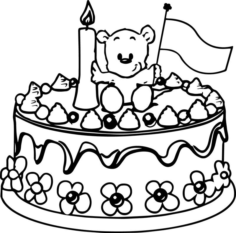 Birthday Cake Bear Coloring Page
