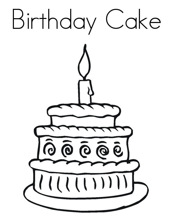 Birthday Cake Coloring Page 001