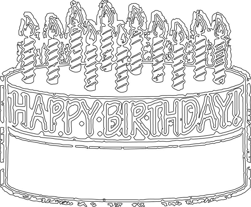 Birthday Cake Outline Line Coloring Page