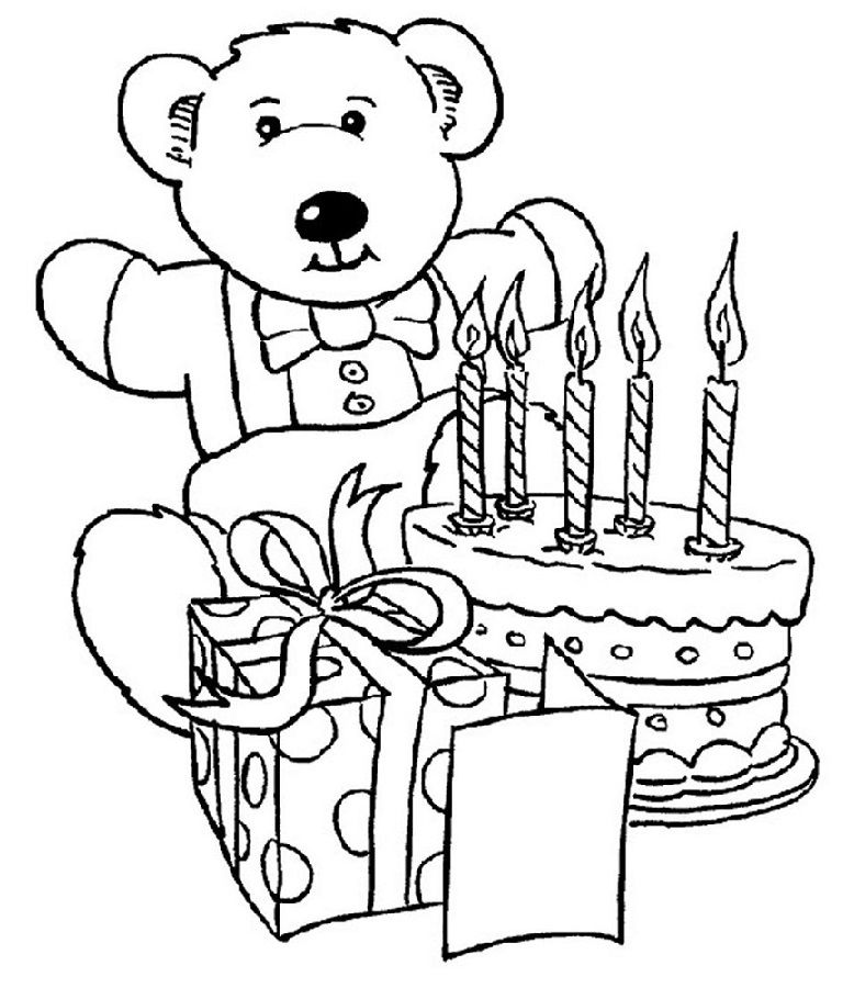 Birthday Color Pages Bear