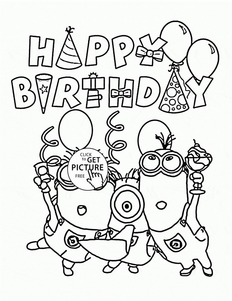 Birthday Color Pages Minion