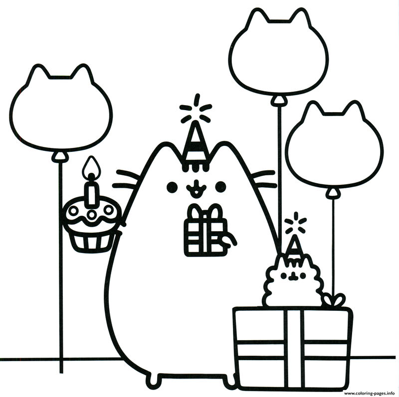 Birthday Pusheen Coloring Pages