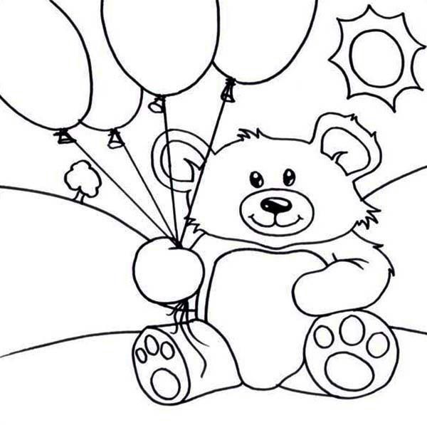Birthday Teddy Bear Coloring Pages