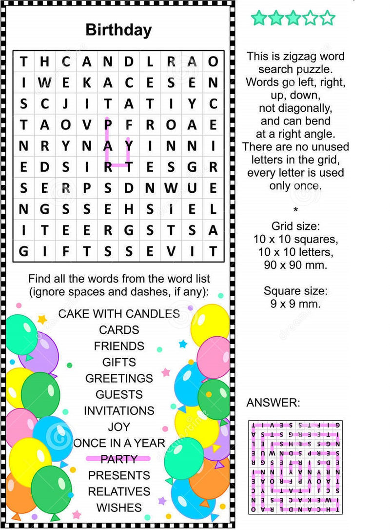 Birthday Word Search Printable