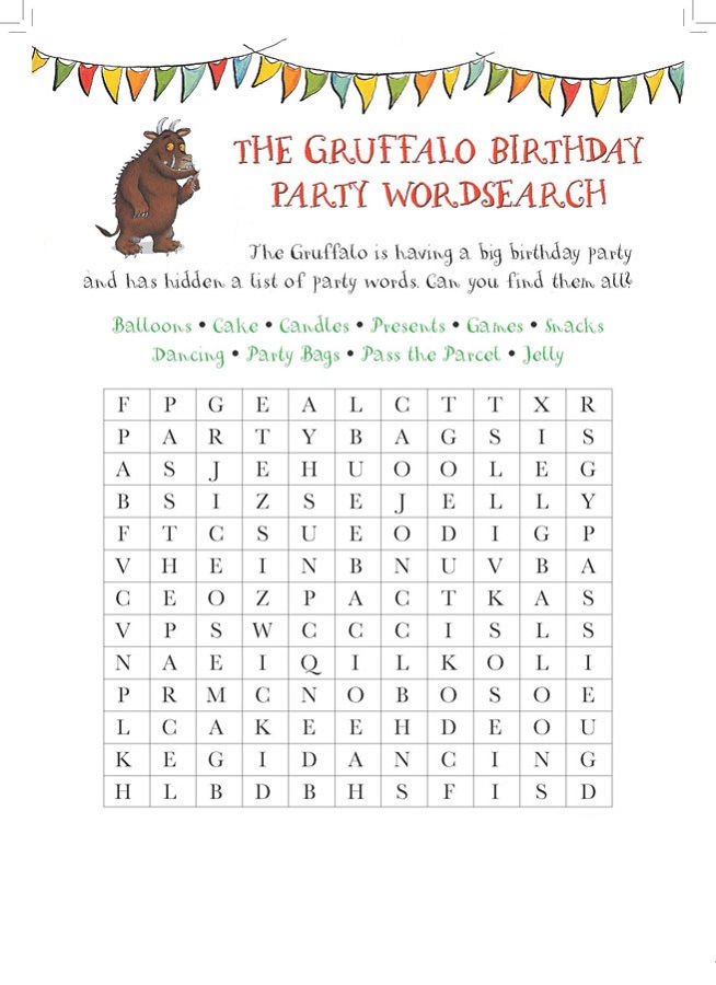 Birthday Word Search Simple