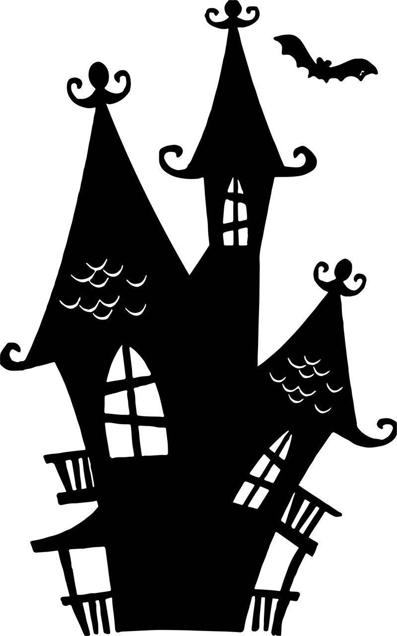 Black Halloween House Coloring Page