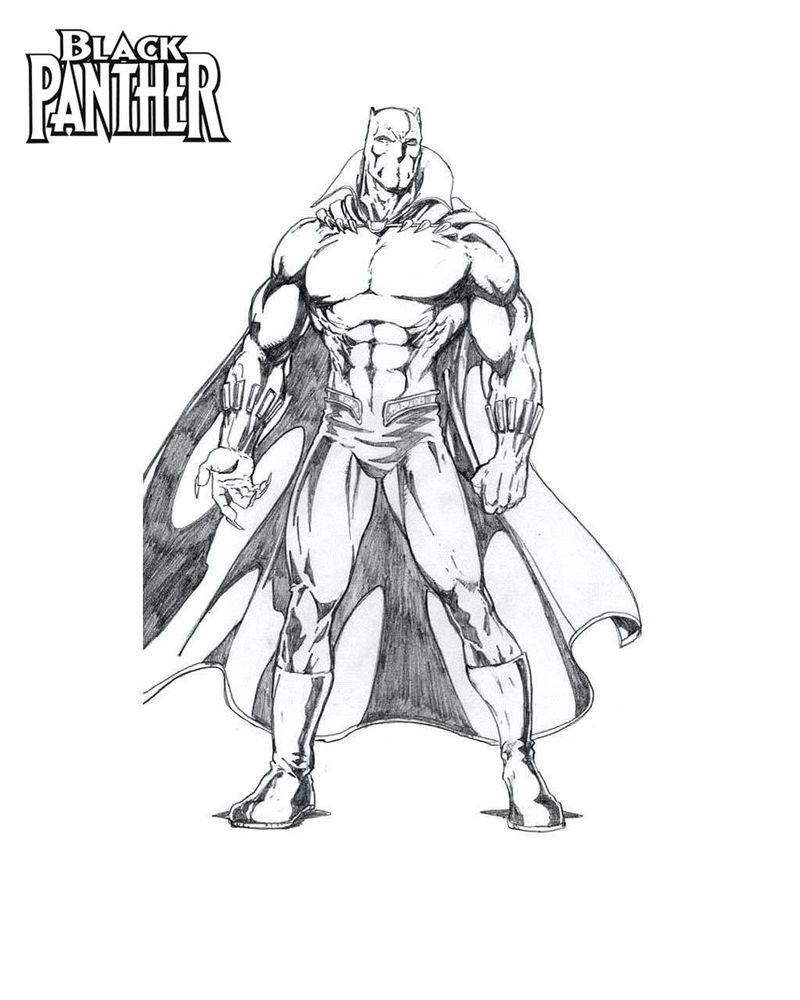 Black Panther Sketch Coloring Page