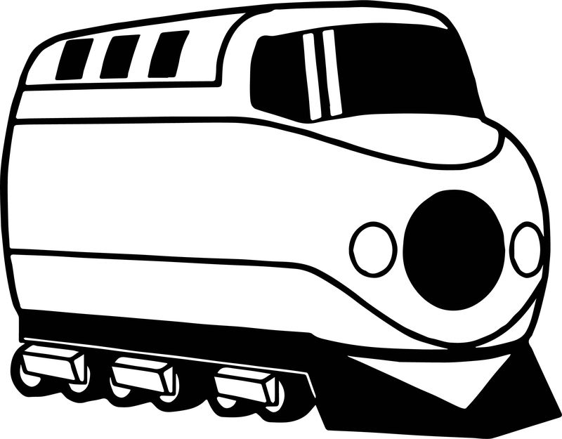 Black Windowed Train Coloring Page