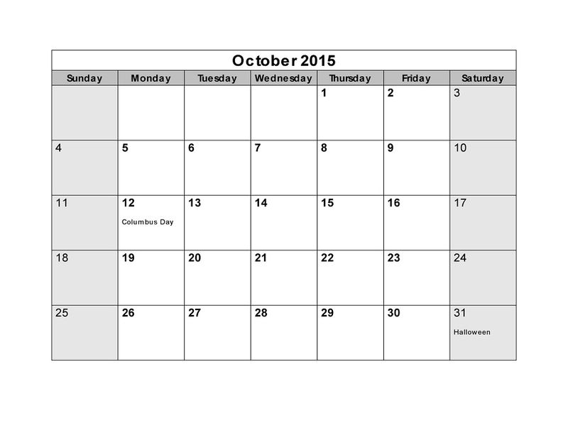 Blank Calendar Pages 2015 October 001