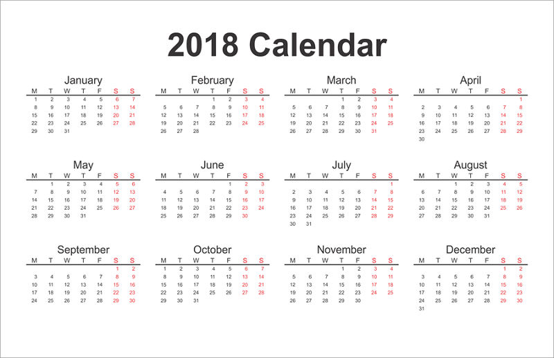 Blank Calendar Pages 2018 One Page