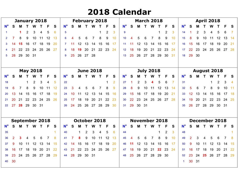 Blank Calendar Pages 2018 Printable