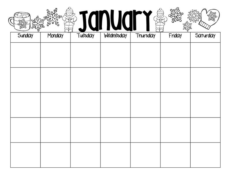 Blank Calendar Pages January