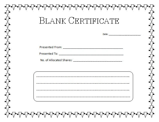Blank Certificate Templates Simple 001