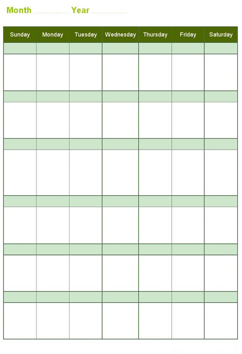Blank Monthly Calendar With Year