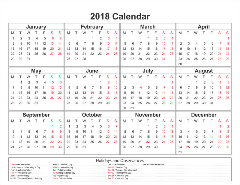 Blank printable calendar 2018 with holidays 1