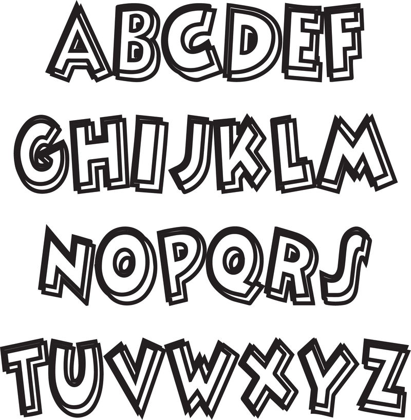 Bold Outline Abc Teach Coloring Page