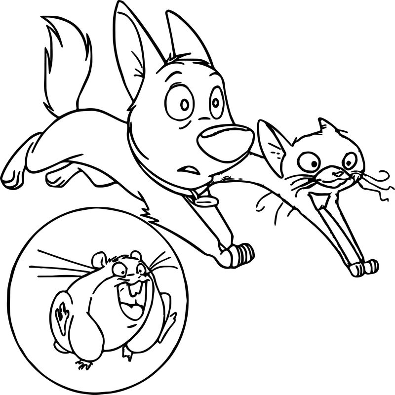 Bolt Dog Friends Looking Coloring Pages