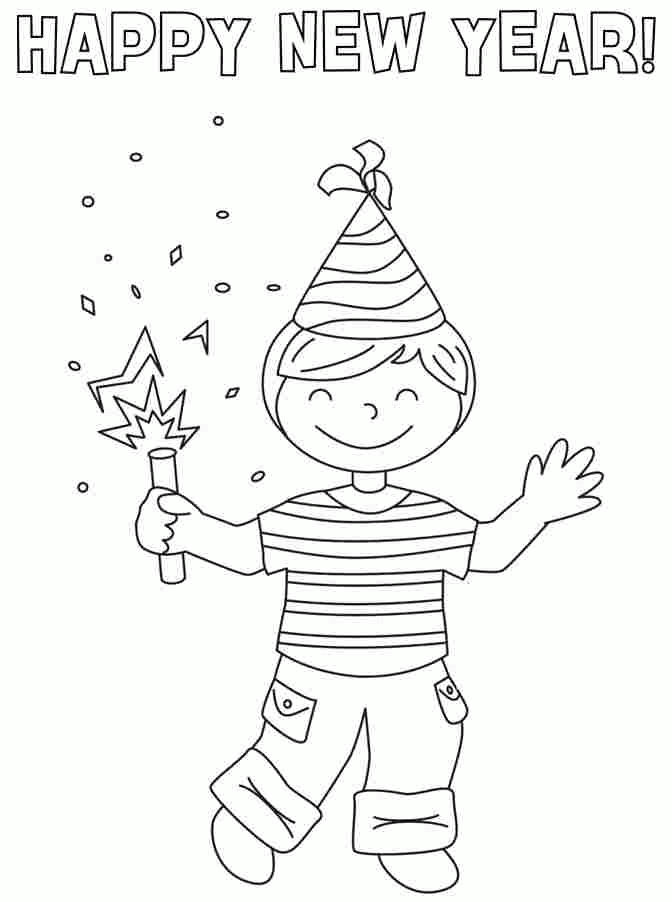 Boy Happy New Year Coloring Pages