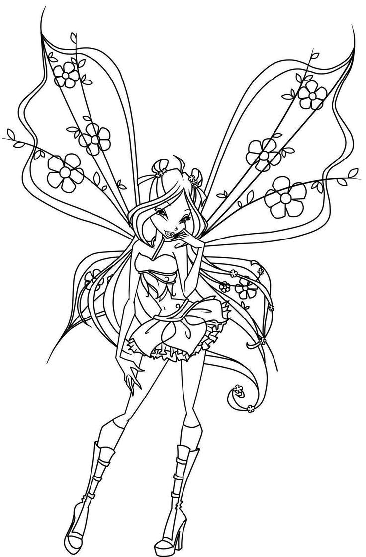 Bratz fairy coloring page free