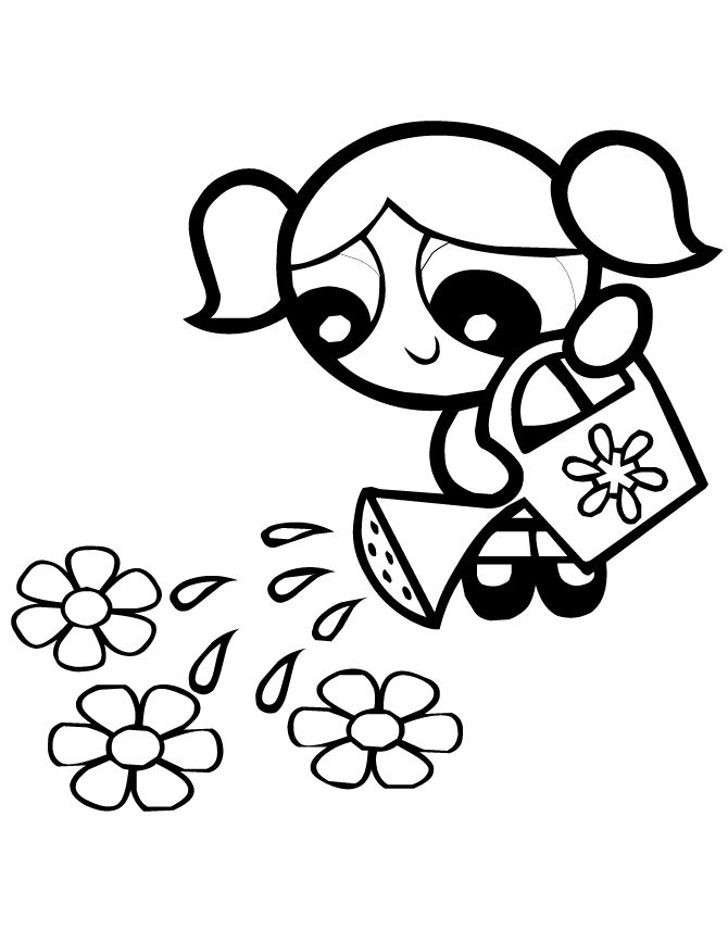 Bubbles Flowers Powerpuff Girls Coloring Pages