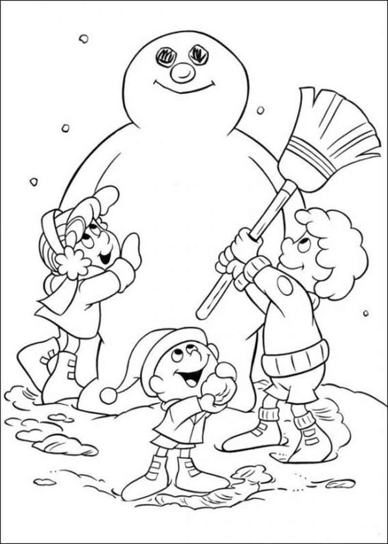 Building Frosty the Snowman coloring page