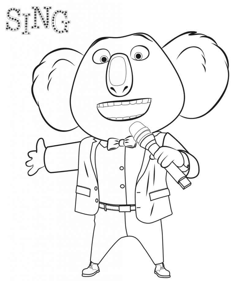 Buster Moon Sing Coloring Pages