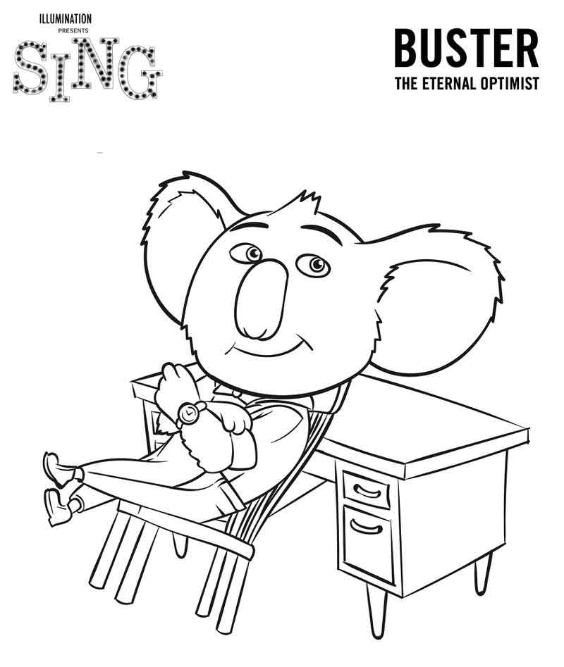 Buster From Sing Coloring Page 865x1024