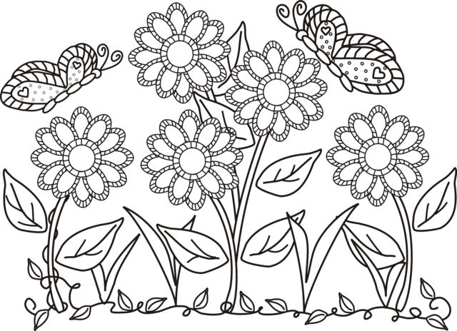 Butterfly Flower Coloring Pages 1