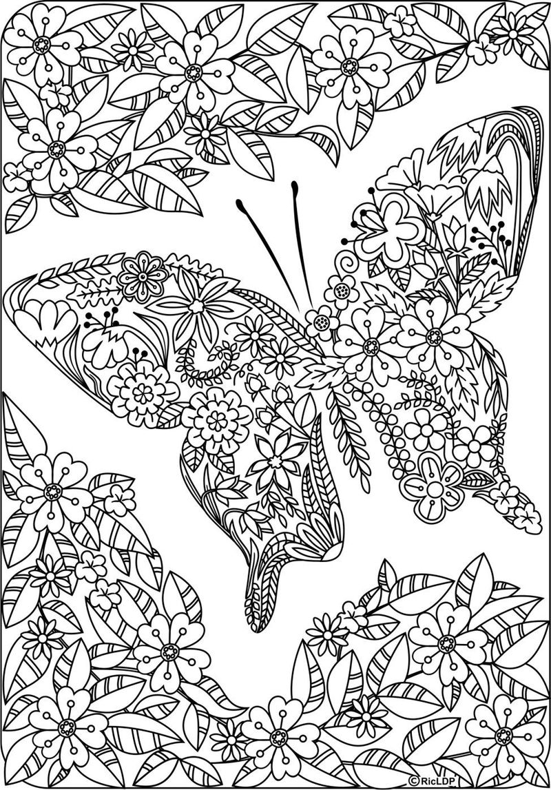 Butterfly Made Of Flowers Coloring Page