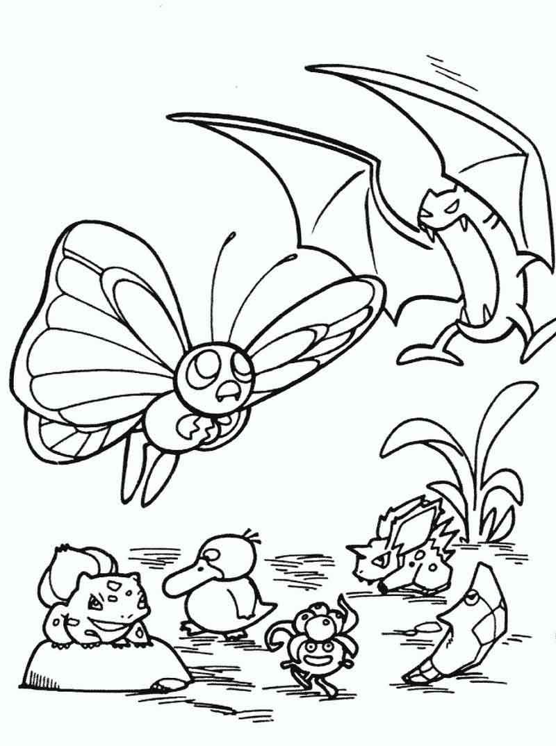 Butterfree And Golbat Pokemon Coloring Pages