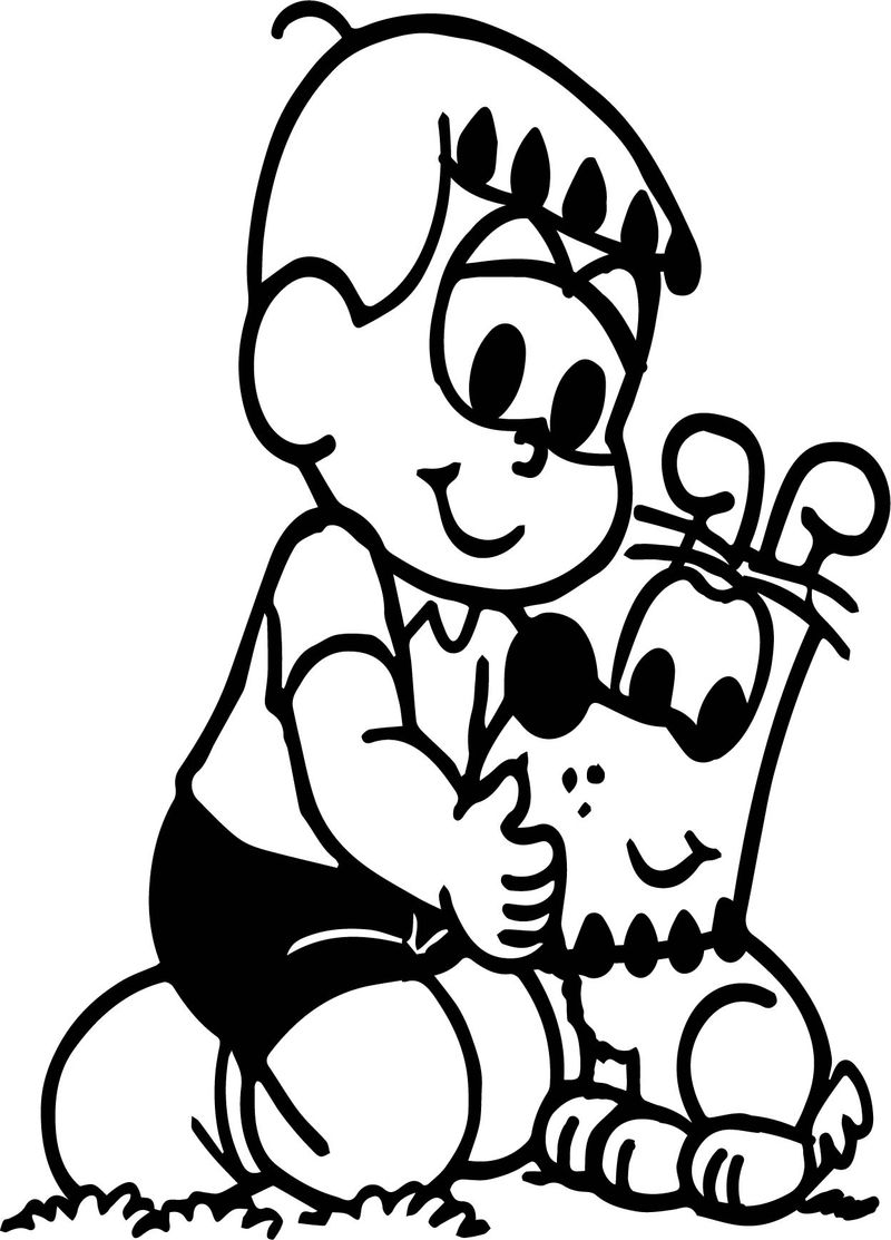 Cabeca Franjinha Boy And Dog Coloring Page