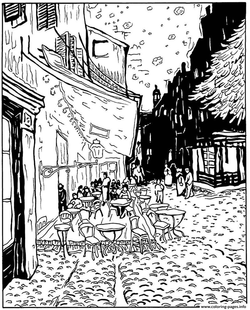 Cafe Terrace At Night Van Gogh Coloring Pages