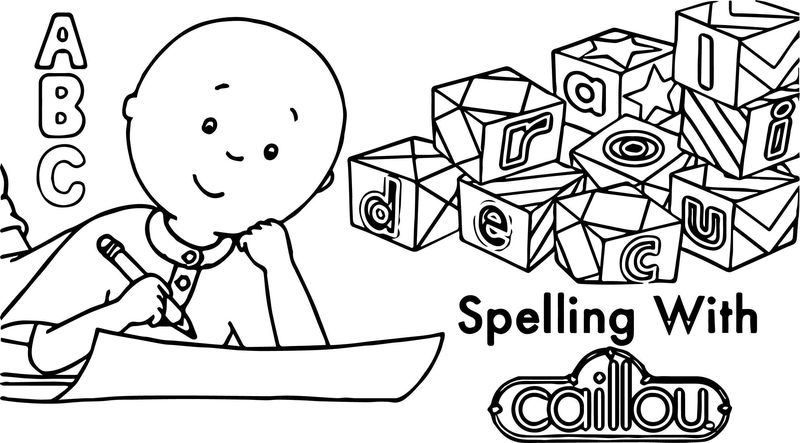 Caillou Abc Spelling With Coloring Page