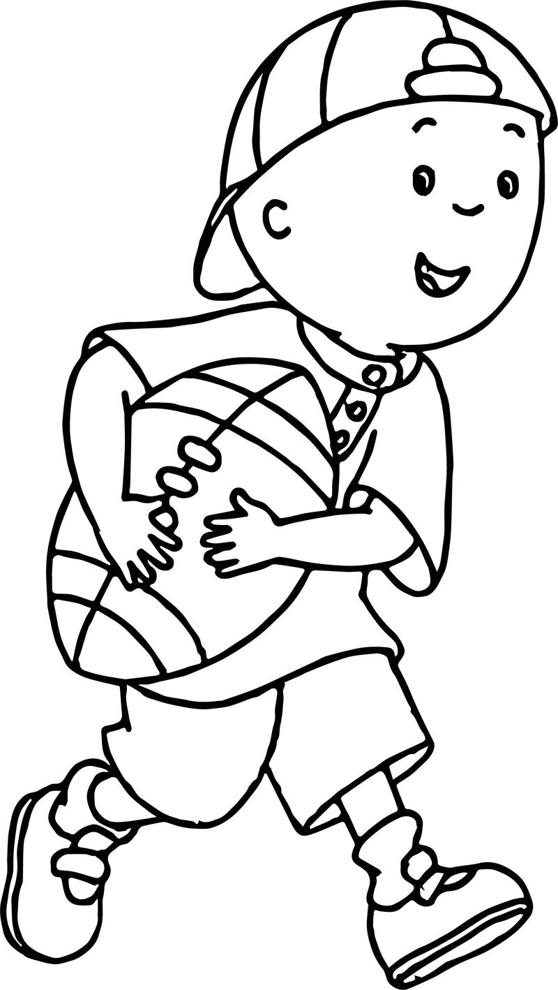 Caillou American Football Coloring Page