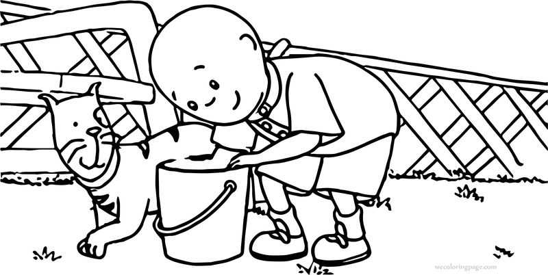 Caillou And Cat Garden Coloring Page