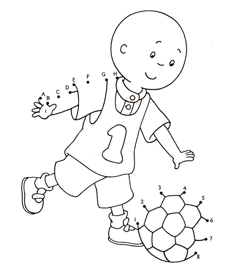 Caillou Playing Soccer Connect The Dots Page