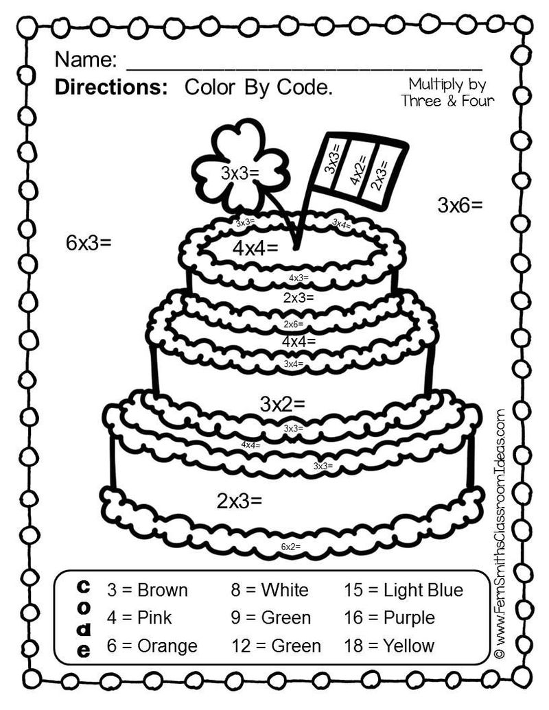 Cake Color By Number Multiplication