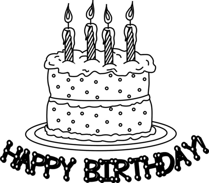 Cake For Birthday Coloring Page