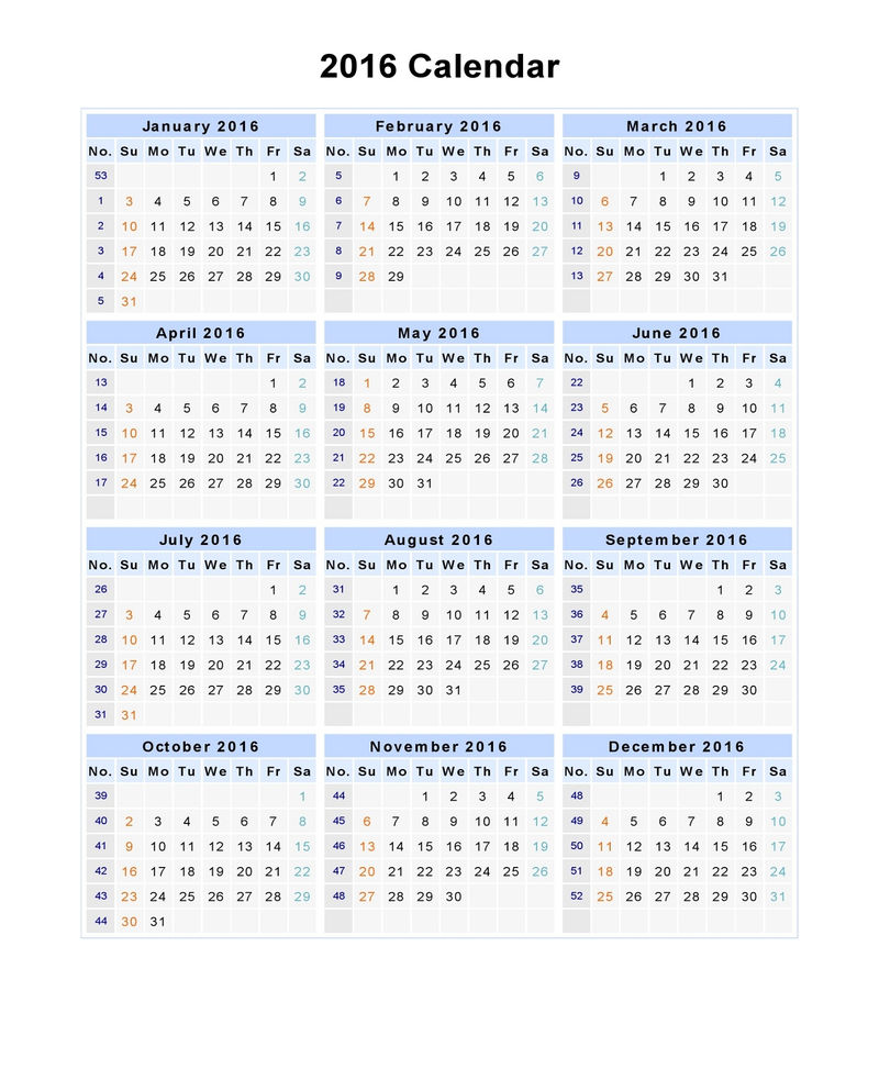 Calendar 2016 One Page Vertical To Print 001
