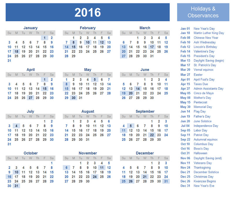 Calendar 2016 With Holidays