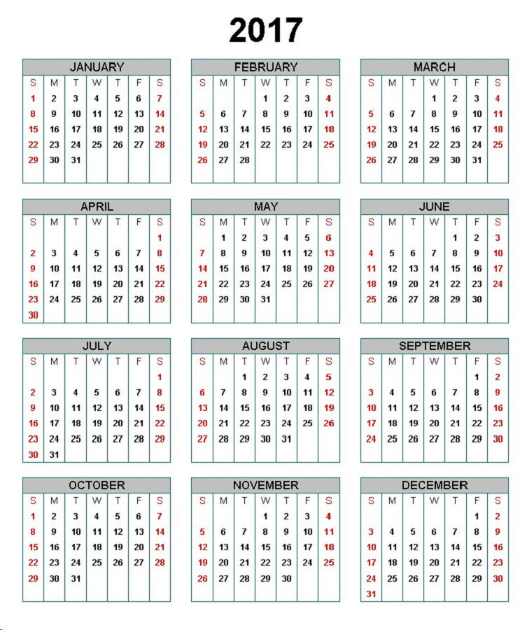 Calendar 2017 Only Printable Yearly 001