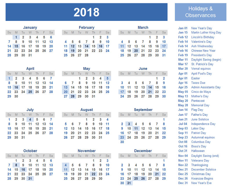 Calendar Template 2018 With Holiday 001