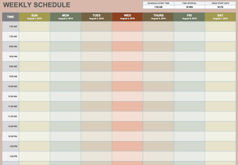 Calendar To Write Schedules Weekly 001