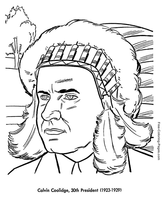 Calvin Coolidge Presidents Day Coloring Page