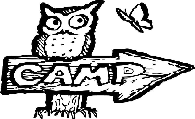 Campign Color Camping Owl Butterfly Coloring Page