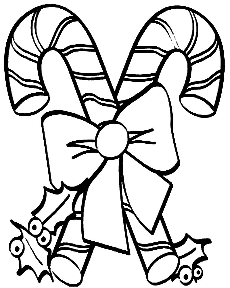 Candy Cane Coloring Page For Preschoolers