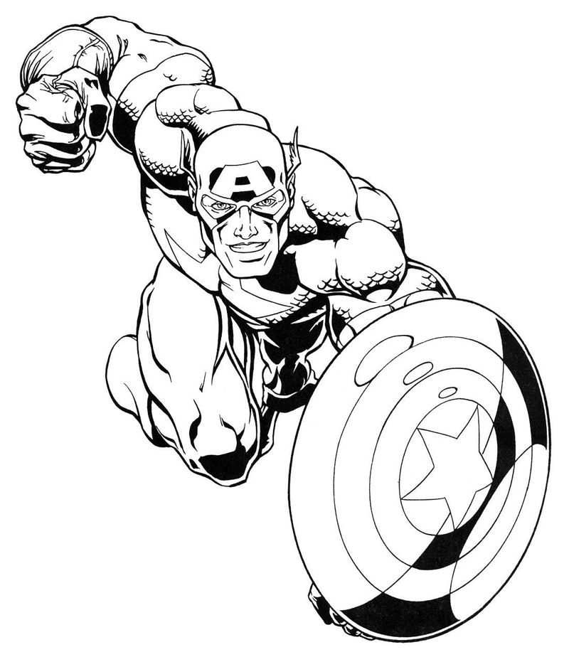 Captain America Marvel Coloring Pages 1 001