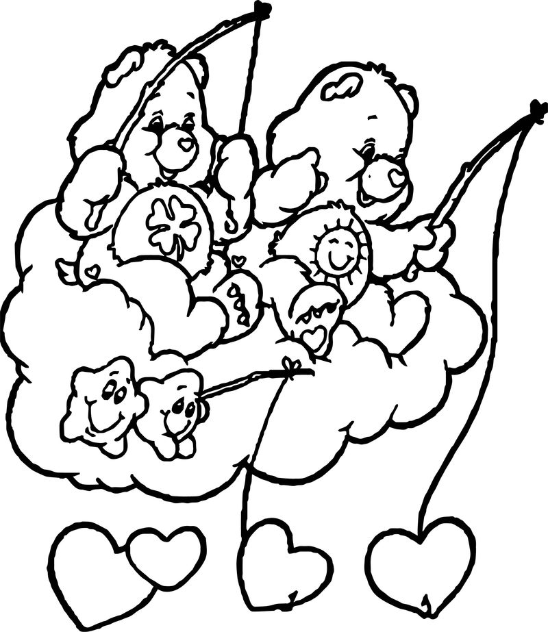 Care Bears Heart Fish Coloring Page