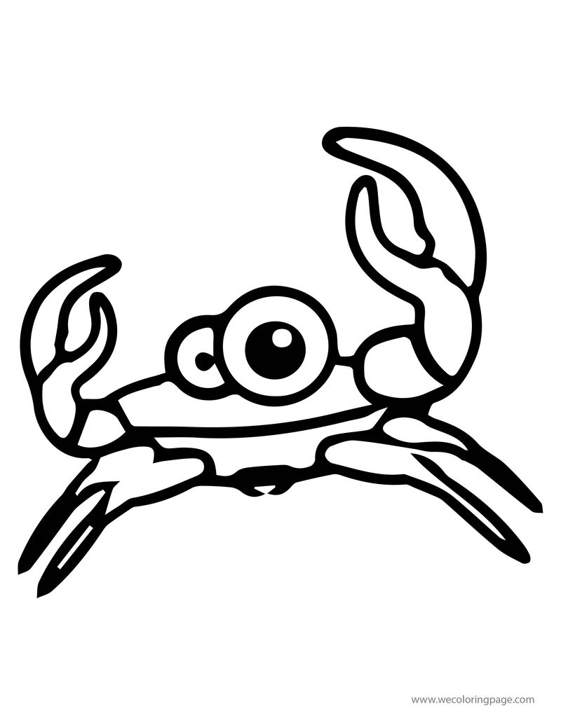 Cartoon Animal Cuttle Sweety Pretty Crab Coloring Page