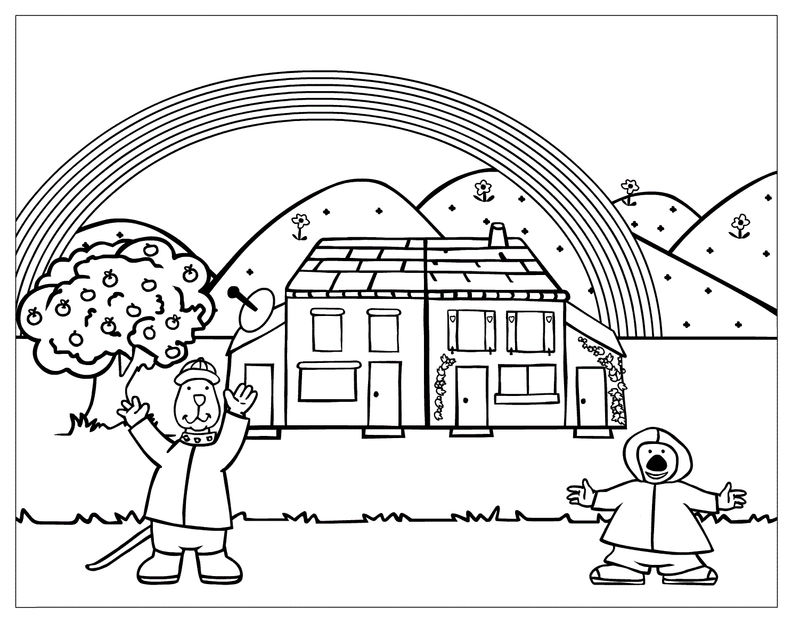 Cartoon Animal Home With Rainbow Coloring Page